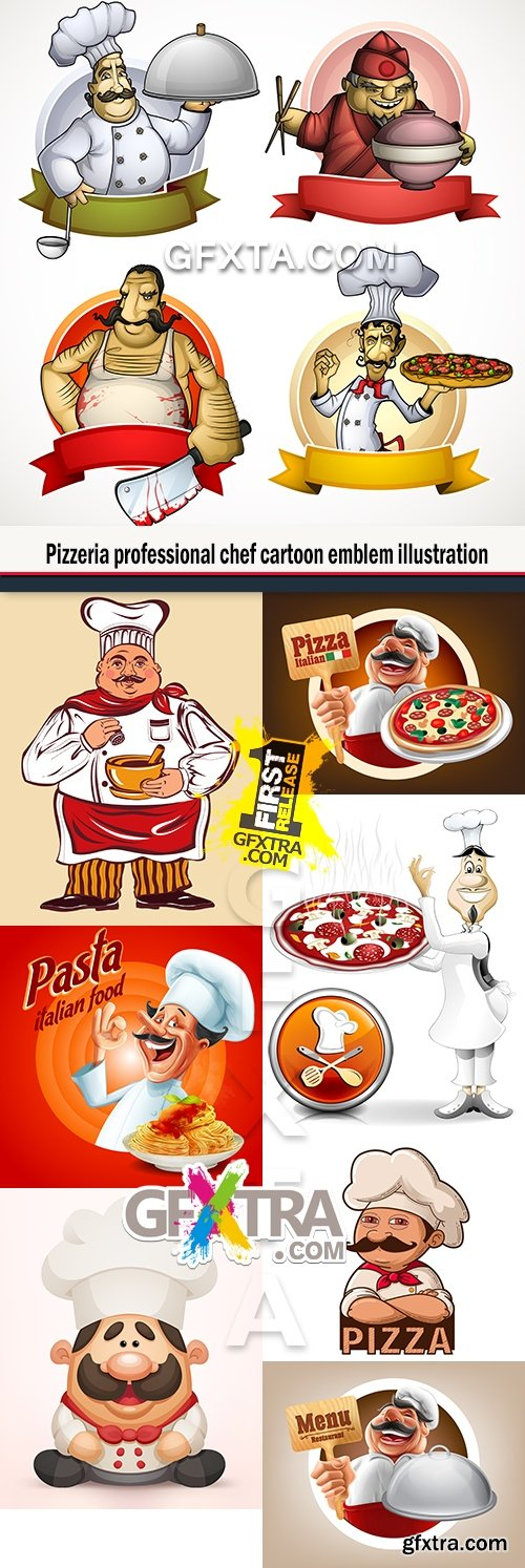 Pizzeria professional chef cartoon emblem illustration