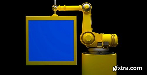 Robot and Monitor With Blue Screen 10735494 Videohive
