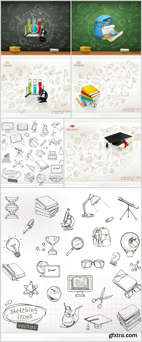 School and education, 3d vector icon set #2 7X EPS