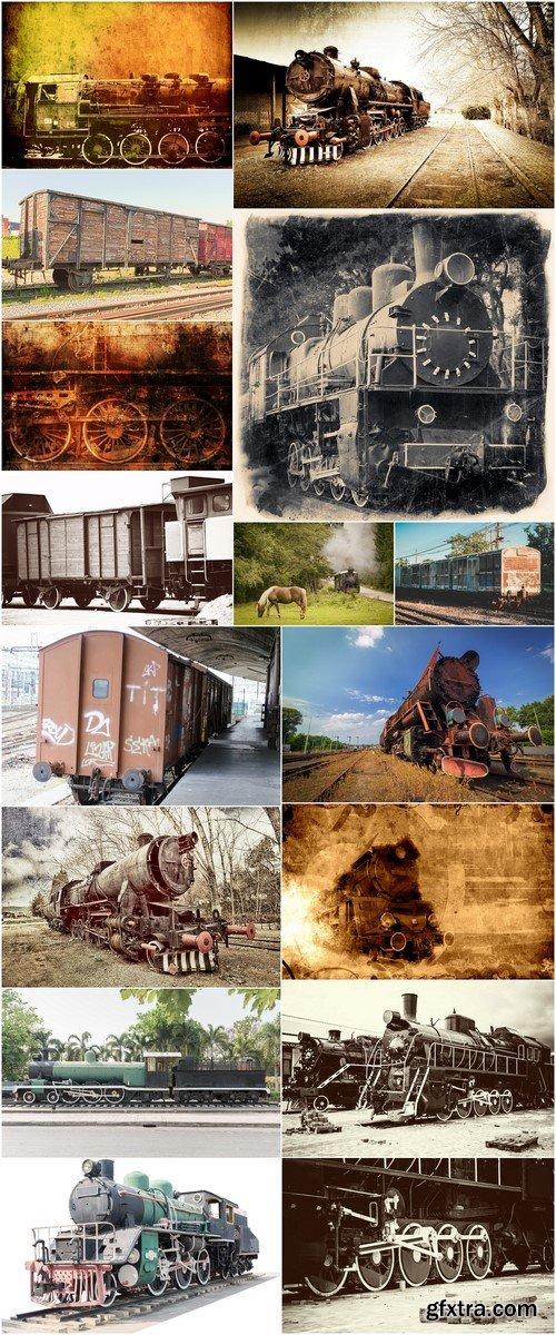Retro wagons and trains 16X JPEG