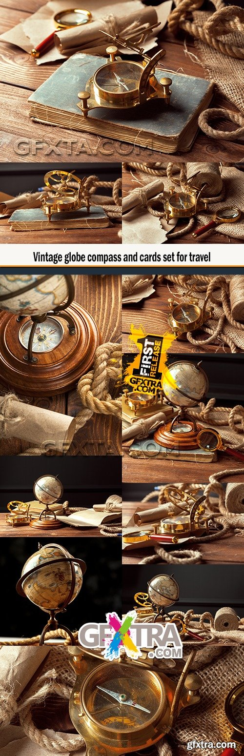Vintage globe compass and cards set for travel