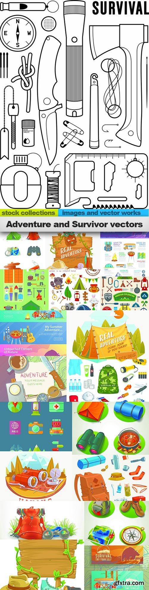 Adventure and Survivor vectors, 20 x EPS