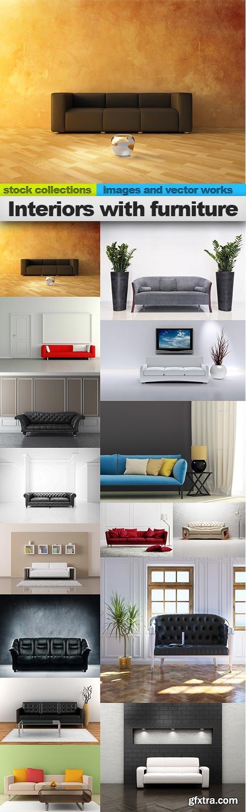 Interiors with furniture, 15 x UHQ JPEG