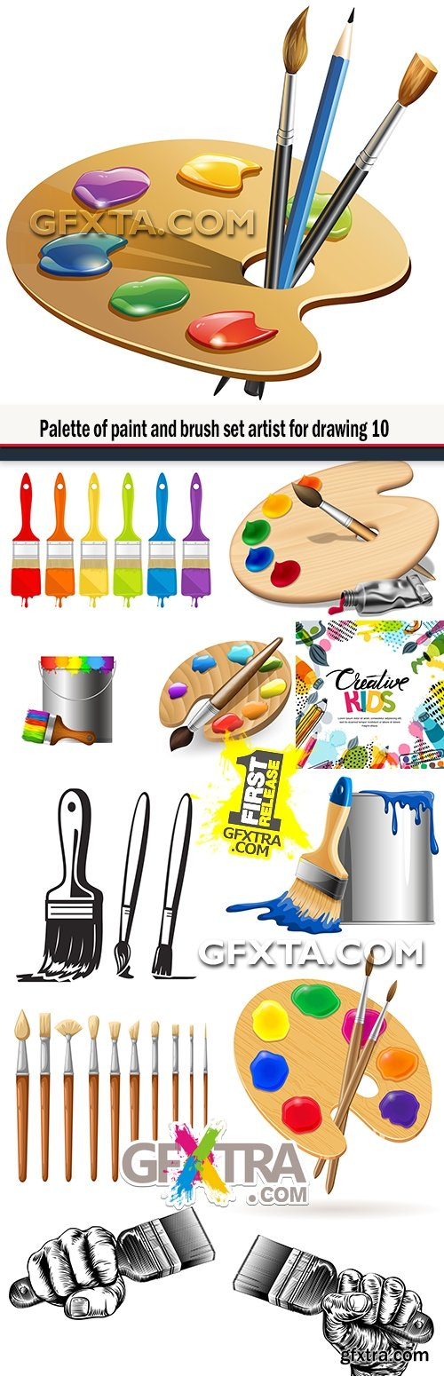 Palette of paint and brush set artist for drawing 10