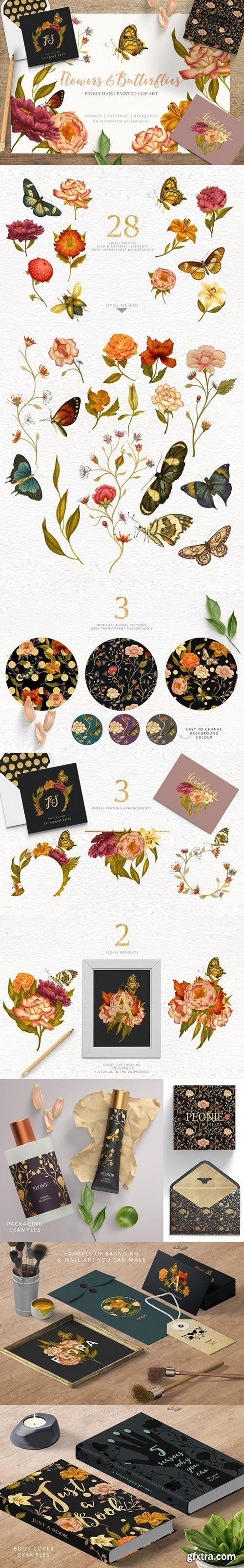 CM - Flowers & Butterflies - Clipart 1710542