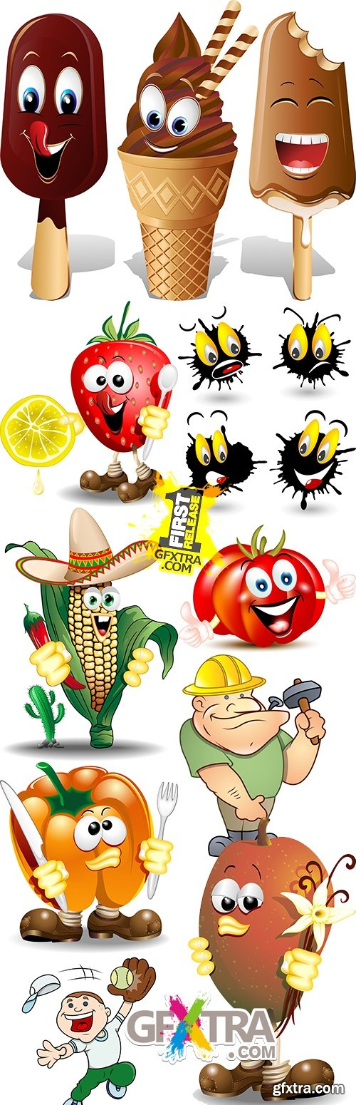 Cartoon amusing characters vector illustrations collection 5