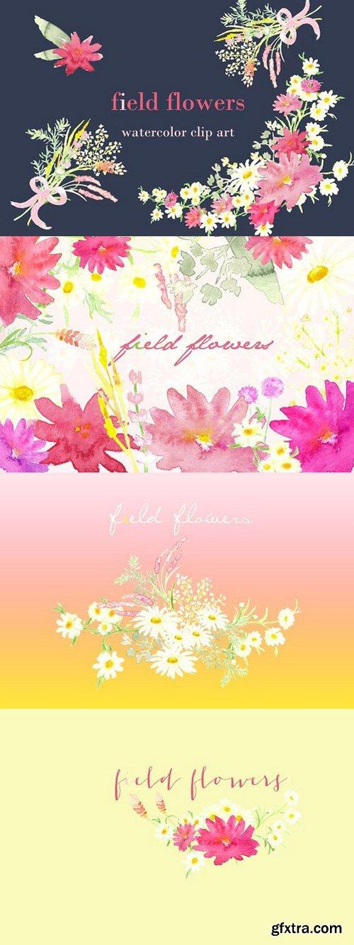 CM - Field Flowers watercolor clip art 252985