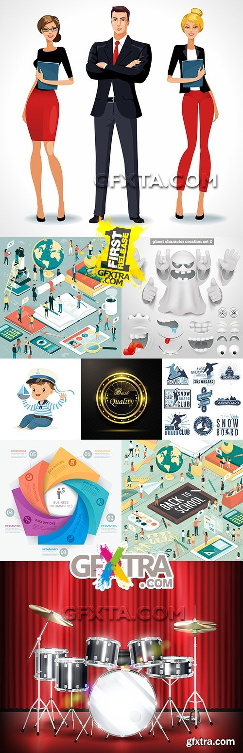 Modern collection vector illustrations different subjects 8