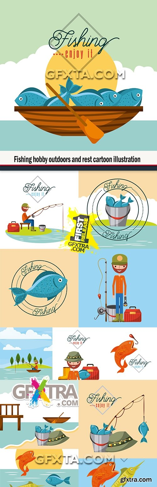 Fishing hobby outdoors and rest cartoon illustration