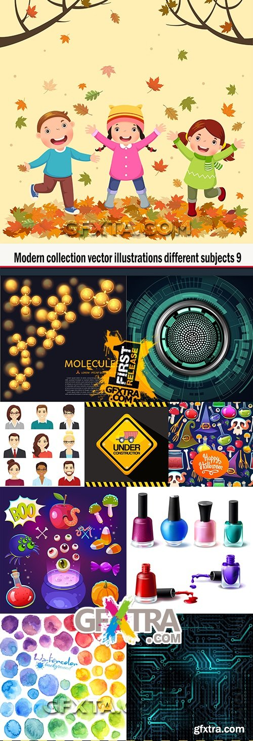 Modern collection vector illustrations different subjects 9