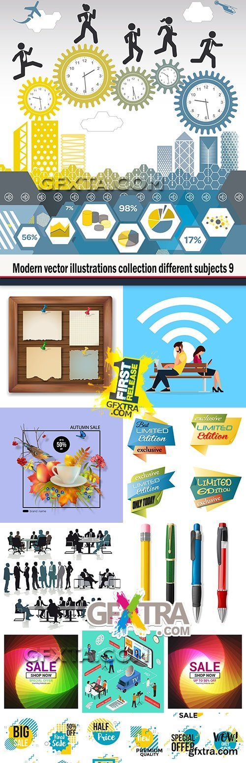 Modern vector illustrations collection different subjects 9