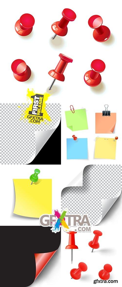 Office button sheet color paper paper clip illustration