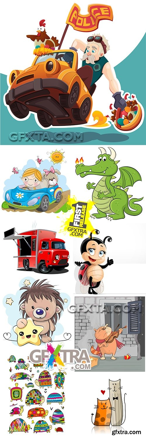Modern funny cartoon heroes illustrations collection 5