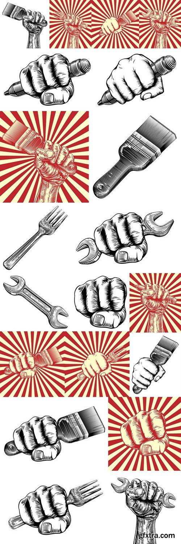 Propaganda Woodcut Fist Hand Holding Pencil