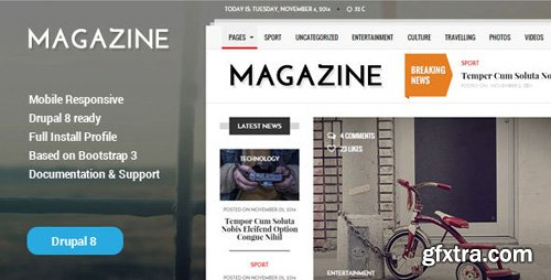 ThemeForest - Gazeta v1.2 - News & Magazine Drupal 8 Theme - 18873576