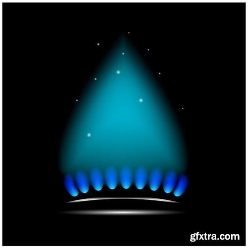 gas burner flame fire vector image 25 EPS