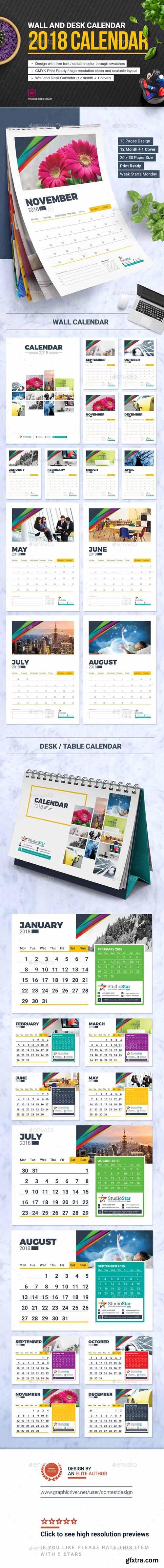 GR - 2018 Calendar Design Template | Wall and Desk / Table Calendar 2018
