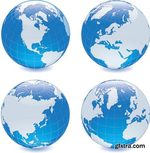 Vectors - Blue Earth Globes Set