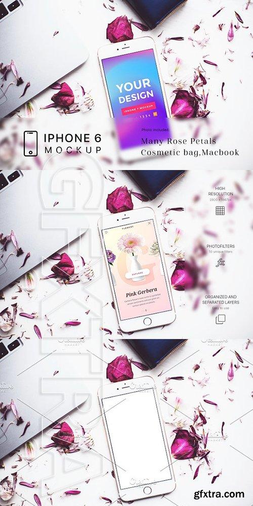 CreativeMarket - Rose Petals with iPhone 6 Mockup 1985481