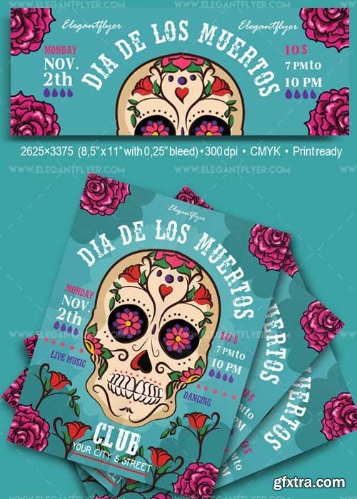 Dia De Los Muertos V31 Flyer PSD Template + Facebook Cover