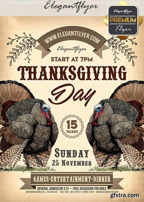 Thanksgiving Day V21 Flyer PSD Template + Facebook Cover