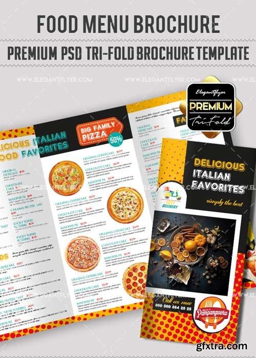 Food Menu V17 Premium Tri-Fold PSD Brochure Template