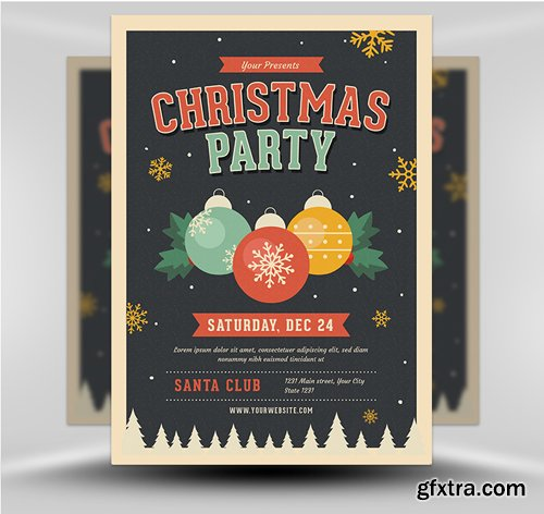 Jingle Bells Christmas Party Flyer Template