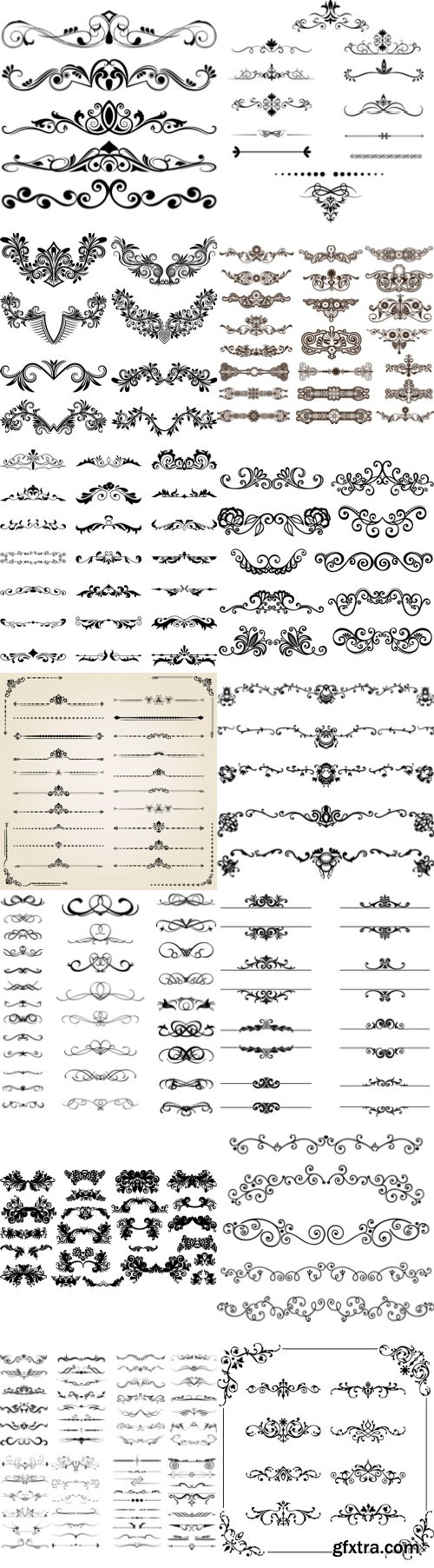 Vectors - Ornamental Floral Dividers [ALL 39 SETS IN 1!] 139xEPS