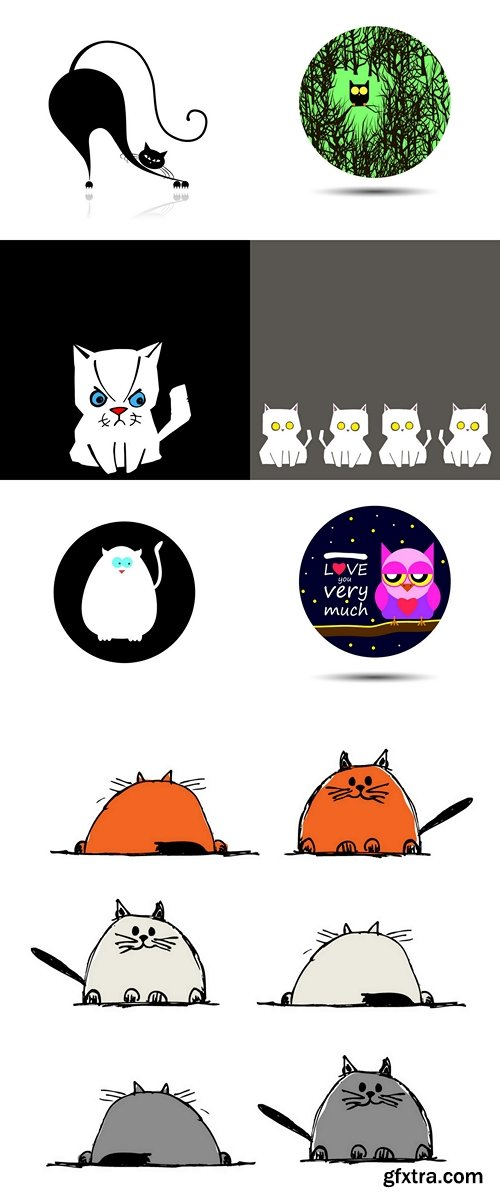 Cat and Owl animal design pet