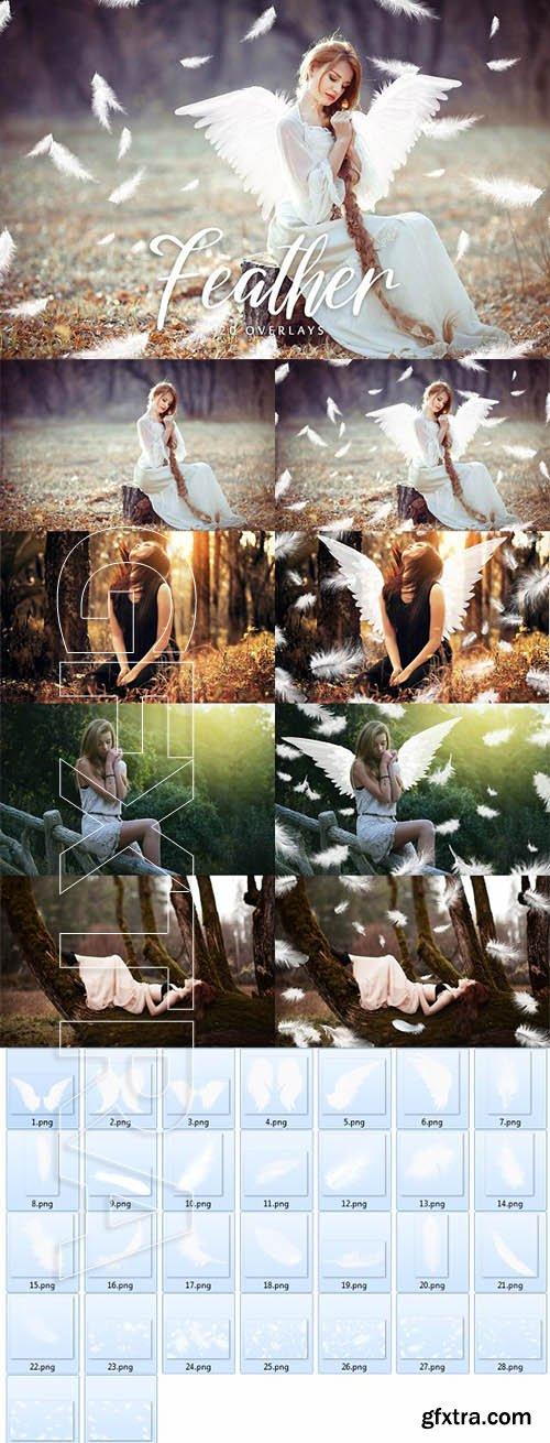 CreativeMarket - White Feather Overlays - 20 Overlays 2001466
