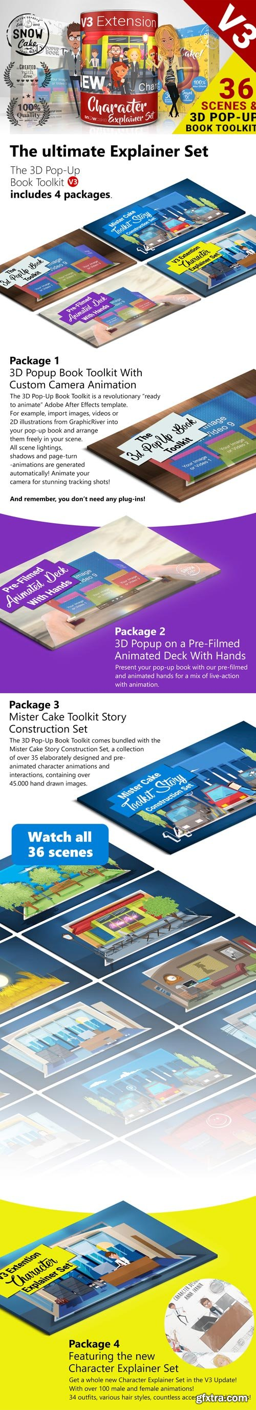 Videohive - 3D Pop-Up Book Toolkit featuring Mister Cake | Toolkit & Story Construction Set V3 - 19845454