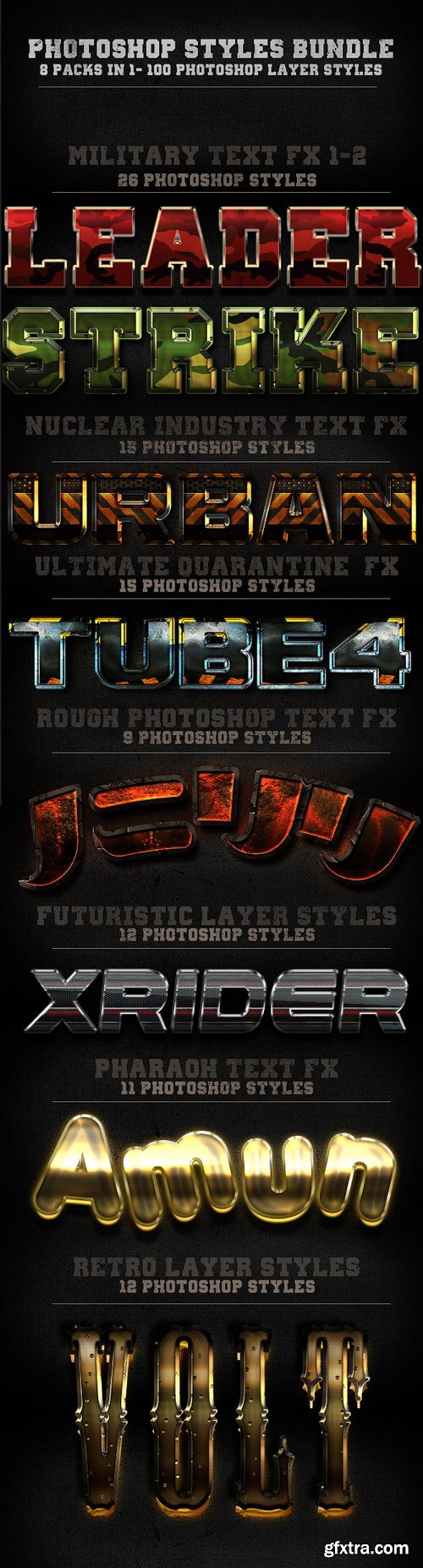 GraphicRiver - 100 Photohop Styles - 8 In 1-The Bundle 5951542