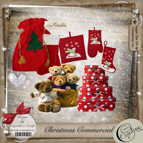 Cajoline Scraps - 4 Christmas Scrap Sets in 1, 27xPNG