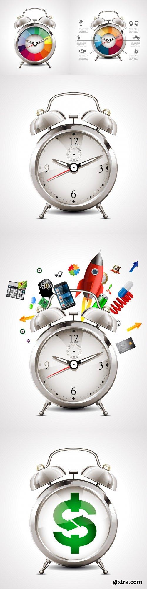 Alarm vector realistic clock