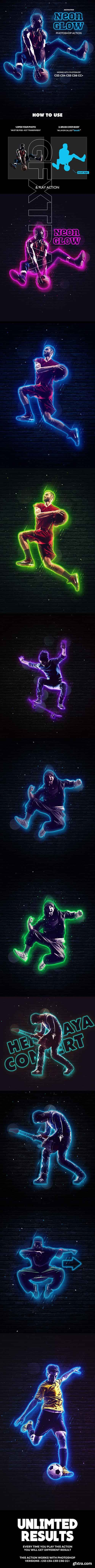 GraphicRiver - Neon Glow Photoshop Action - Animated 21048909