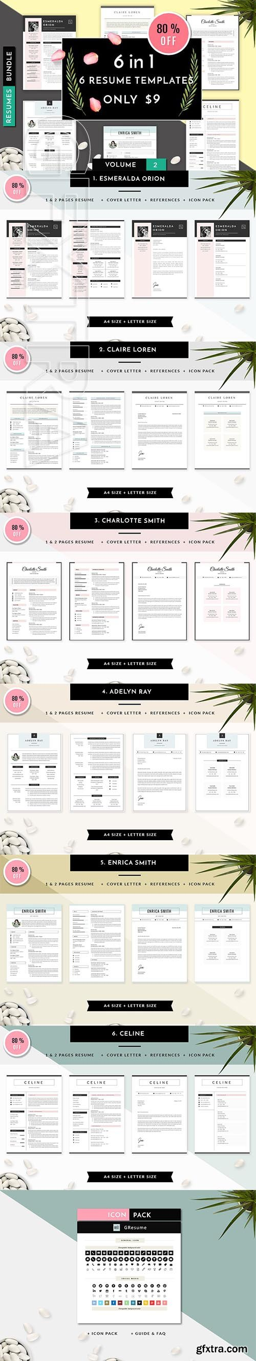 CreativeMarket - 6 in 1 Resume Templates Bundle Vol 2 2107384