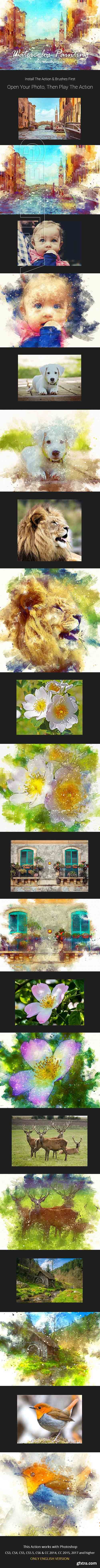GraphicRiver - Full Watercolor Painting Photoshop Action 21110517