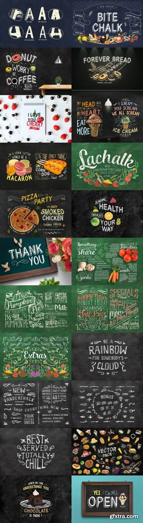 CM - 3 IN 1 Chalk Fonts Bundle + Extras 1797560