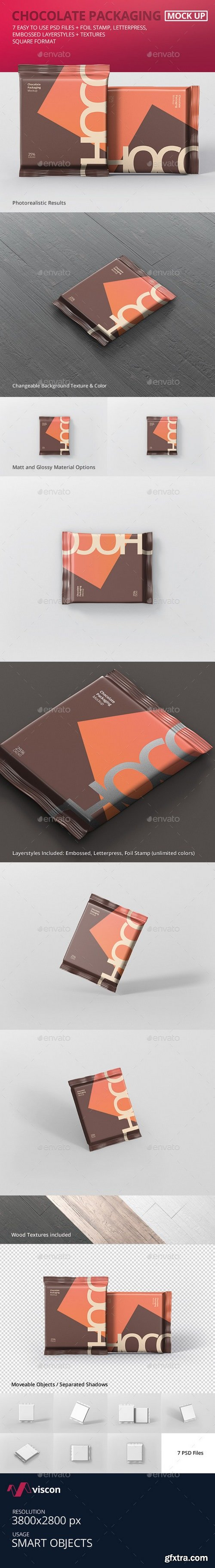 Graphicriver - Foil Chocolate Packaging Mockup - Square Size 21180593