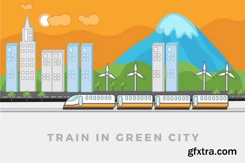 Train walking in green city