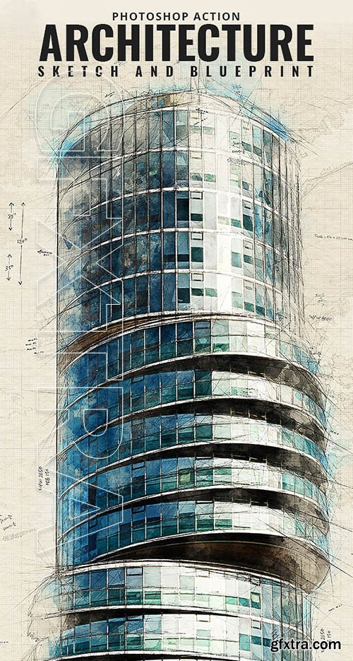 GraphicRiver - Architecture Sketch and Blueprint Photoshop Action 21196237