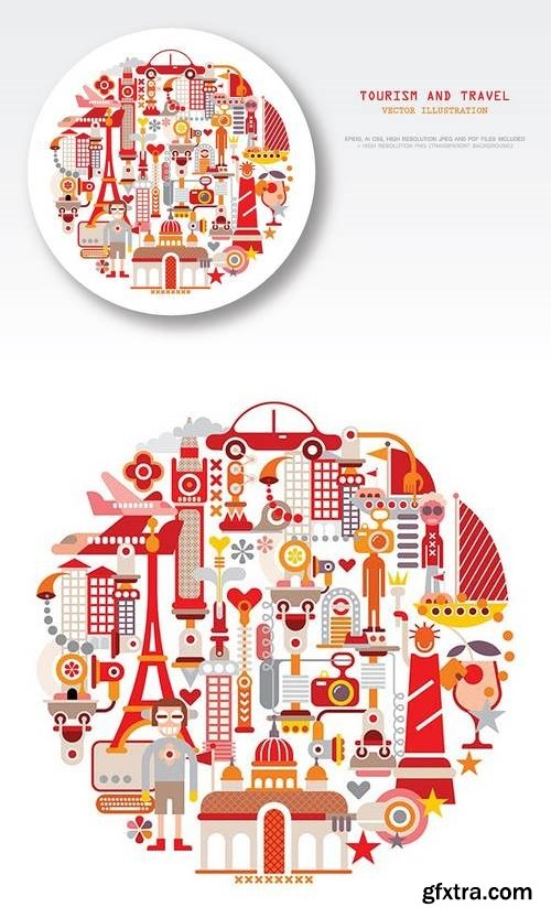 Travel and Tourism round shape vector illustration