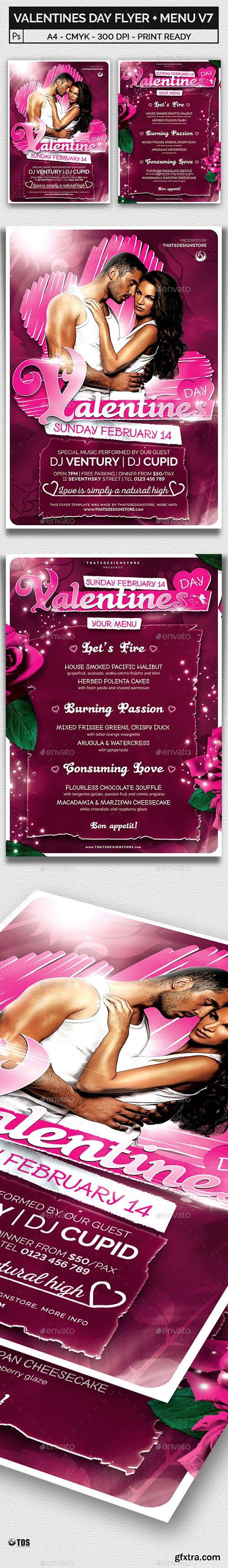 GraphicRiver - Valentines Day Flyer + Menu Bundle V7 14427136