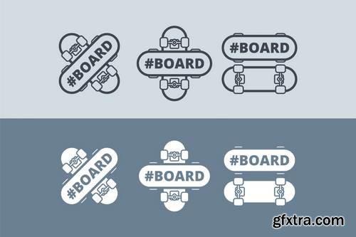 vector logo with skateboard