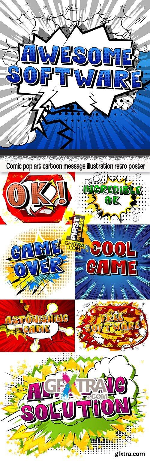 Comic pop art cartoon message illustration retro poster