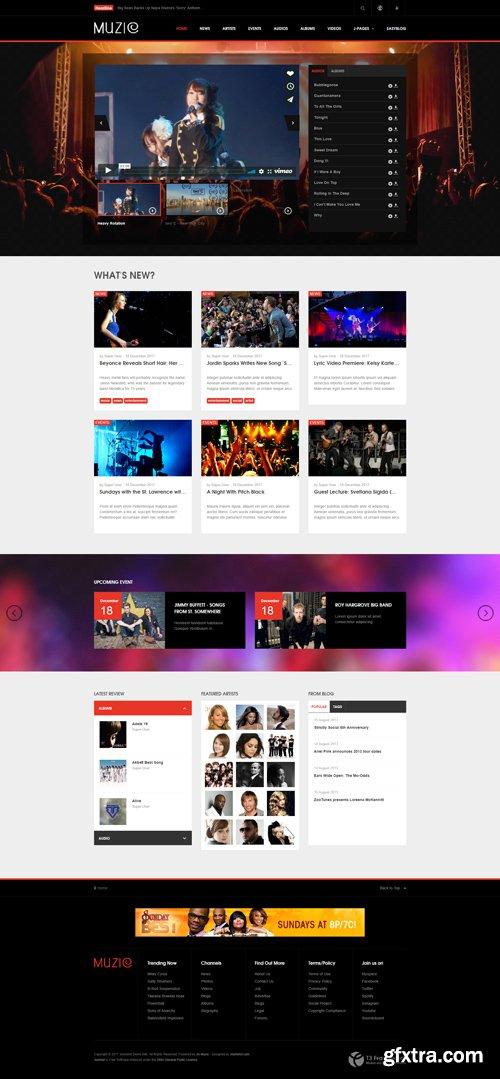 JoomlArt - JA Muzic v1.1.6 - Responsive Joomla template for Entertainment Music
