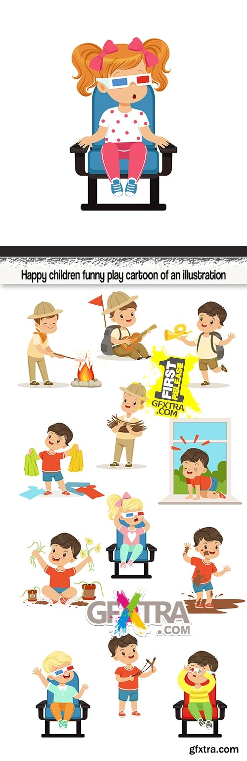 Happy children funny play cartoon of an illustration