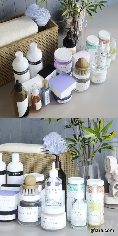 A Set of Cosmetics for the Bathroom