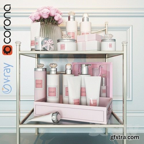 Side table with makeup / Table with cosmetic set