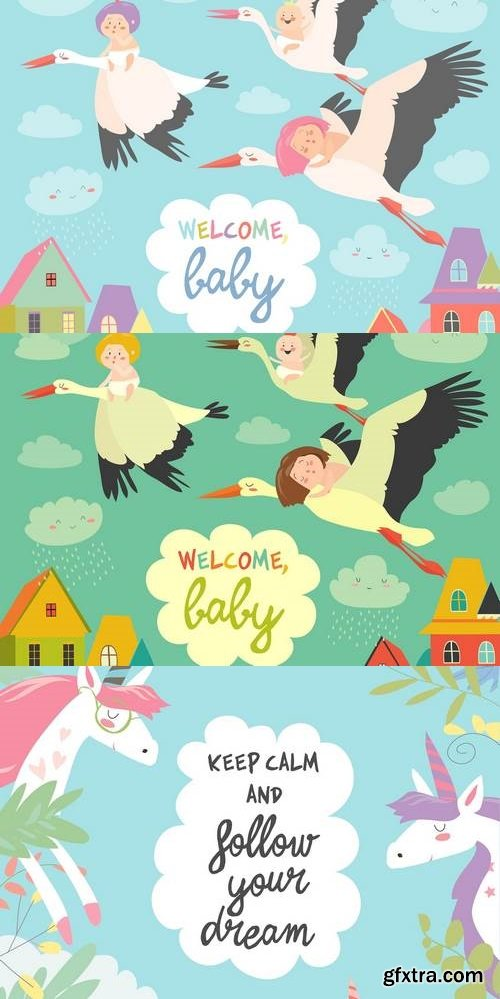 Storks is flying in the sky with babies
